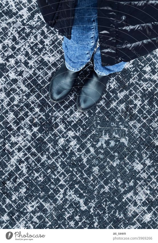 Standing around in the winter Snow snow residue Pattern graphic graphically Structures and forms squares small box Black White off Ground Paving tiles
