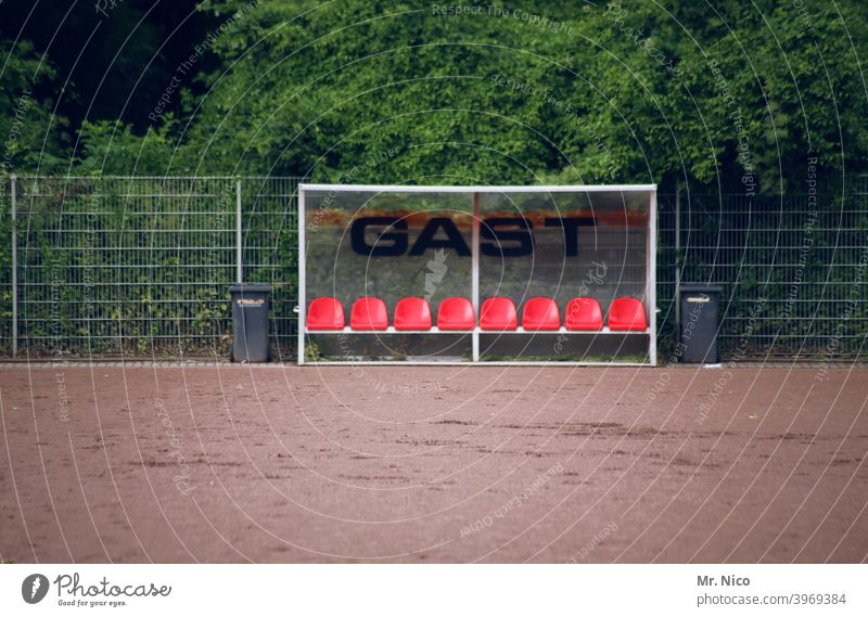 substitution bench Leisure and hobbies Sports Substitute's bench Bench Hard court Signs and labeling Vacancy Athletic Guest Football pitch Bushes