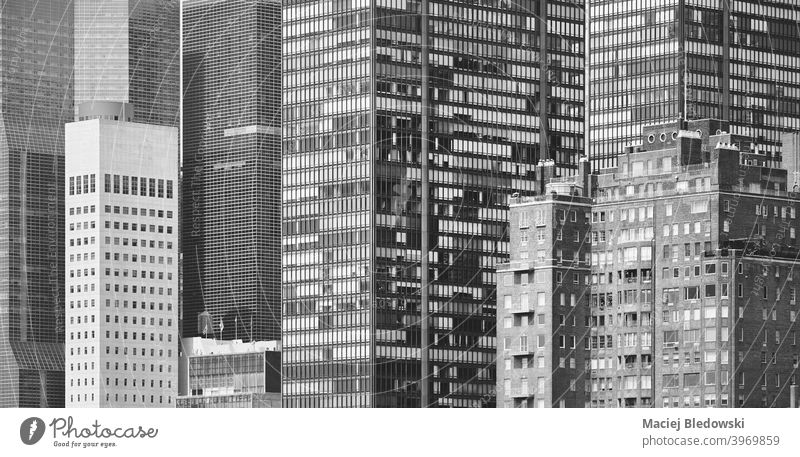 Black and white picture of New York City modern architecture, US. city office Manhattan NYC USA skyscraper midtown black and white apartment business building
