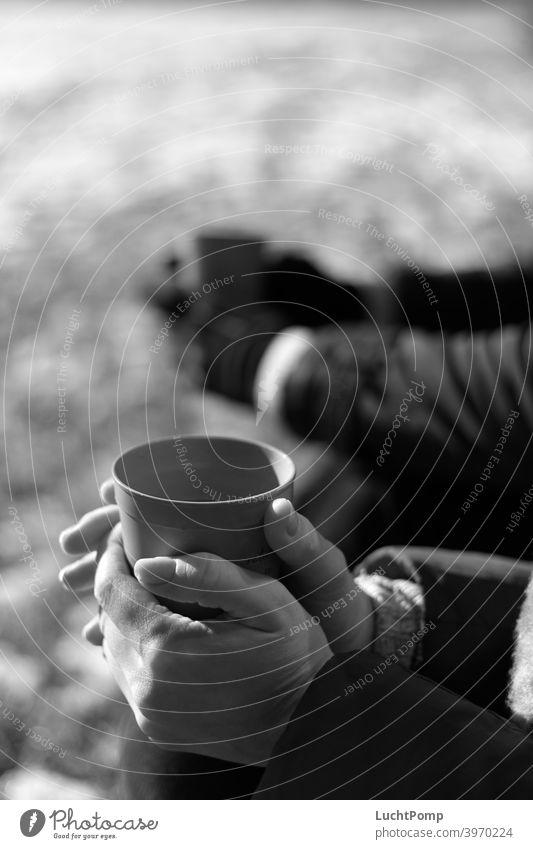 Woman hands clasp a cup Black & white photo Women's Hands Coffee break To have a coffee Hot drink Beverage Coffee mug Mug To enjoy Food Close-up Break rest hike
