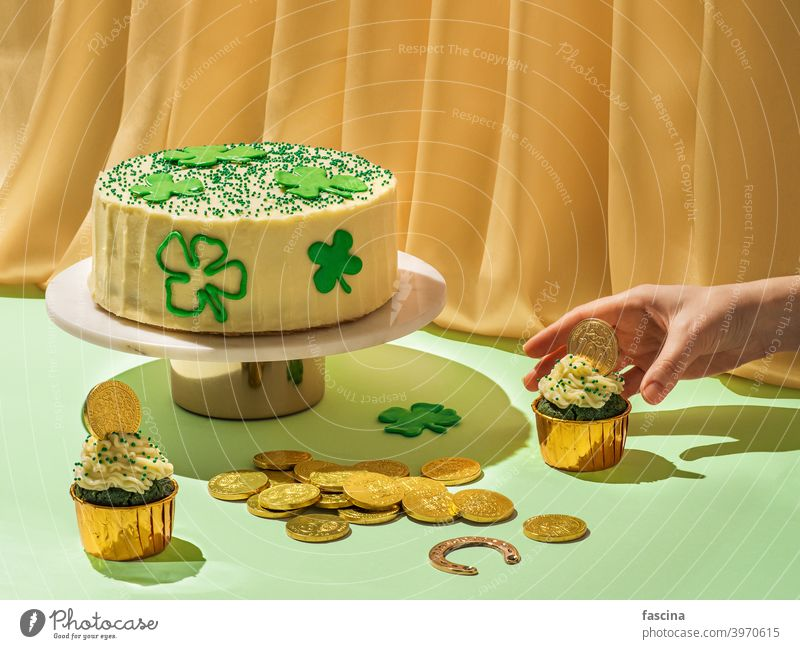 Food for Saint Patrick's Day party, modern still life patrick day food concept creative saint velvet cupcake green gold surrealism holiday velvet cake aesthetic