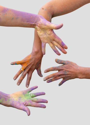 colorful hands happy holi colour celebration fun powder paint dye holy happiness celebrating activity splash vibrant close-up creativity bright art group funny