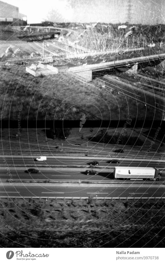 Cityscape duet 6 Analog Analogue photo black-and-white Diana Mini half format Bochum Bochum West Highway two pictures Transport Double exposure Bridge The Ruhr