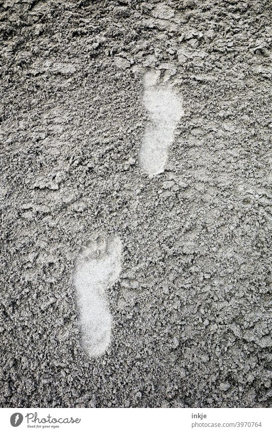 Barefoot to the sea Exterior shot Tracks footprints Sand Sandy beach Colour photo Deserted structure Soft Imprint Vacation & Travel Summer vacation Footprint