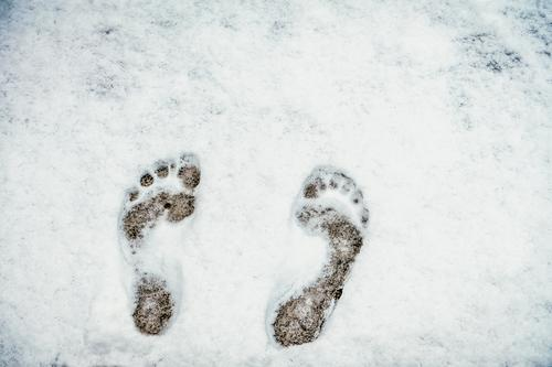 Cold feet - barefoot in the snow Feet up Naked Snow Barefoot run barefoot barefoot path Toes Exterior shot cold feet get cold feet Colour photo Freeze Frost