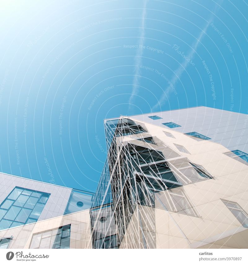 Double Exposure | Constructed Deconstructivism House (Residential Structure) Double exposure Construction Facade Window Glazed facade Overlay disorientation Sky