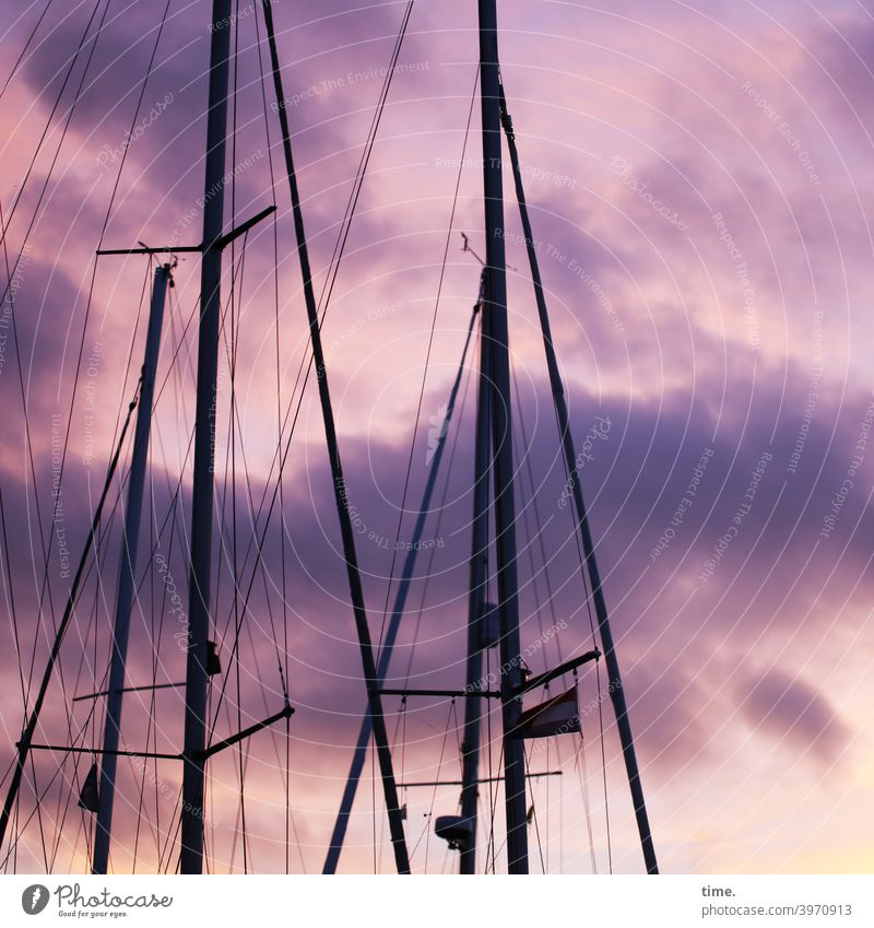 Rope teams #34 Sailboat Sky Dramatic art Clouds mast ropes Evening Twilight Harbour pennant Linen