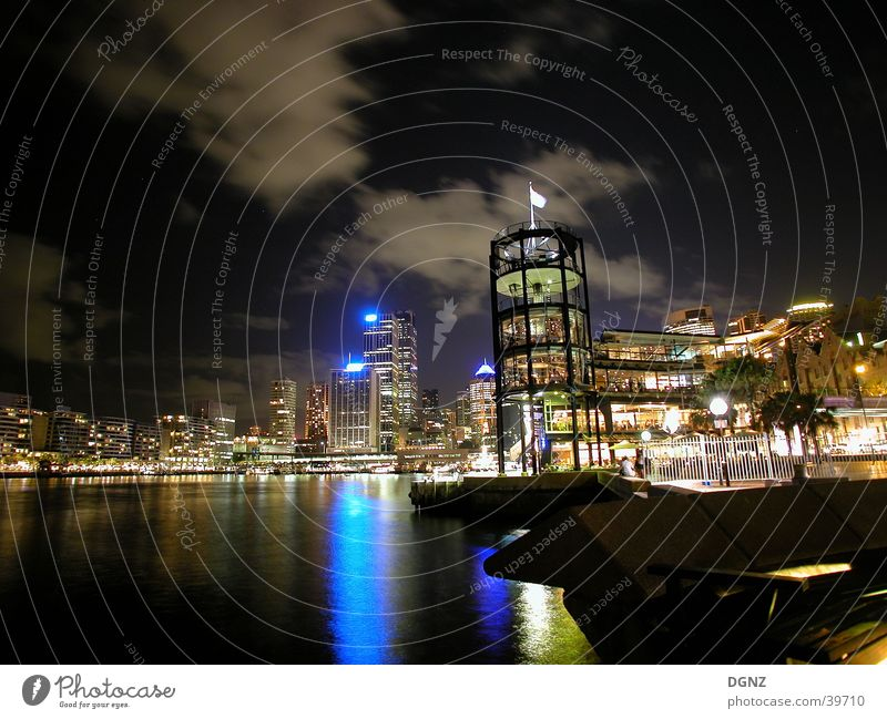 Sydney harbour at night New Zealand Australia Wide angle Night Harbour