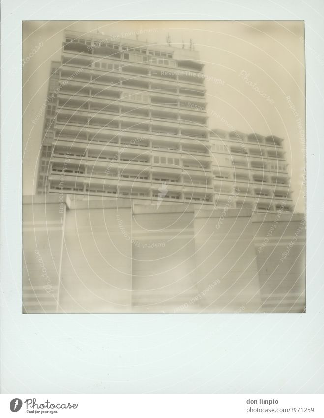 skyscraper High-rise, Sharp-edged Polaroid Structures and shapes Architecture Corner Wall (building) Deserted Facade Balconies Monochrome monotonously Tall holm