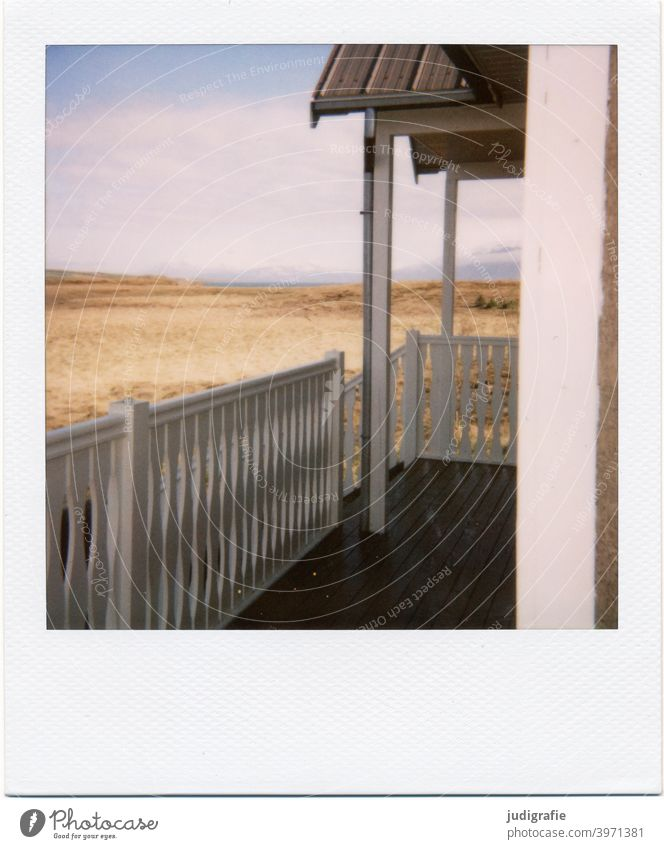 View from the terrace of an Icelandic house on Polaroid House (Residential Structure) Wood door Entrance Nature Building Apartment Building Detached house dwell