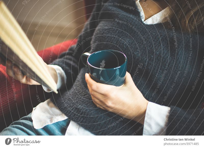 The young woman in the blue sweater sits comfortably in the armchair and holds a coffee mug and a book in her hands. Upper body portrait without head Coffee mug