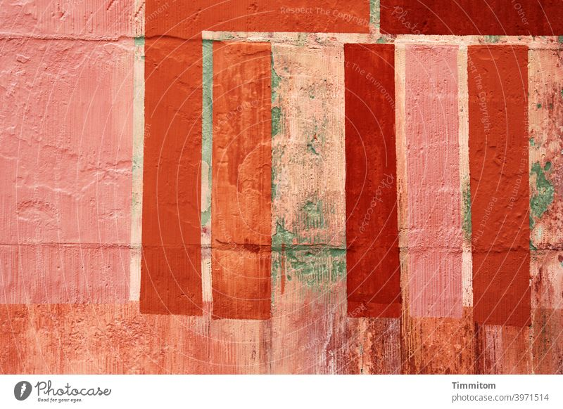 Castle wall with a lot of color Wall (barrier) Stone Old Colour Stripe Red peeled off Wall (building) Structures and shapes Facade Red tones Colour photo