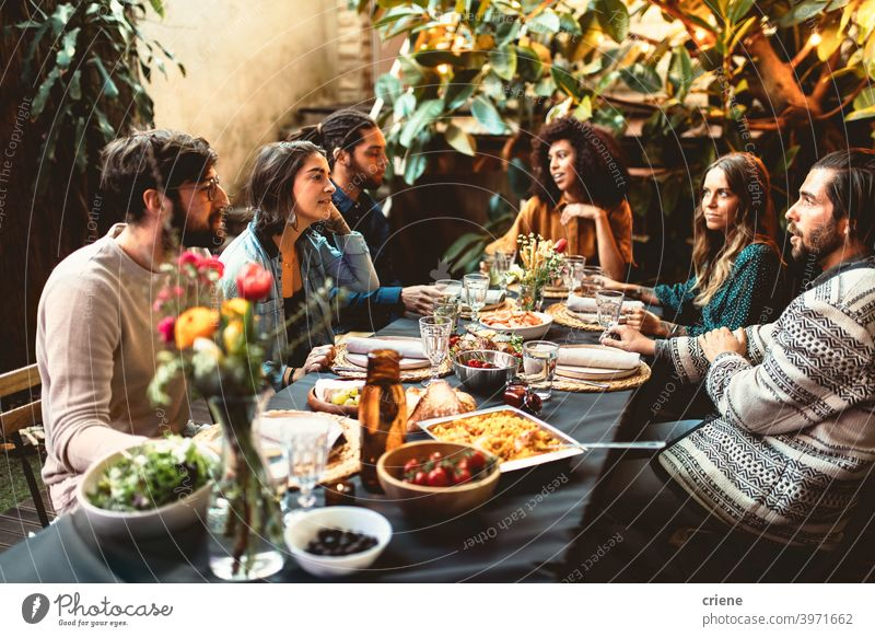 group of adult friends at dinner garden party together having dinner Adult Candid Outdoor Young Adult alcohol backyard celebrating chatting dinner party