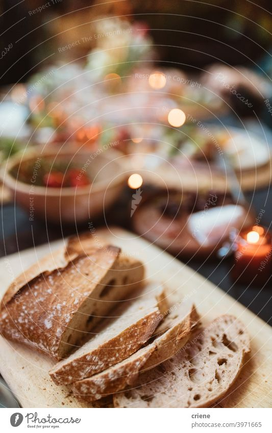 close up of fresh bread on dinner table baguette dinner party food lunch meal no people restaurant