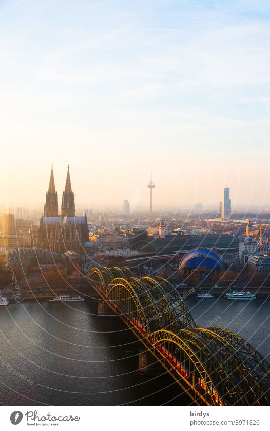 Cologne in the evening light, Cologne Cathedral, Hohenzollern Bridge and TV Tower from above. Panorama Landmark Cologne television tower City panorama Rhine
