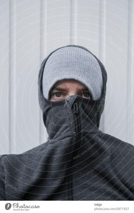 lockdown Colour photo Close-up Exterior shot portrait portrait of a woman Anonymous Masked Authentic tired Boredom coronavirus Winter Cold Freeze