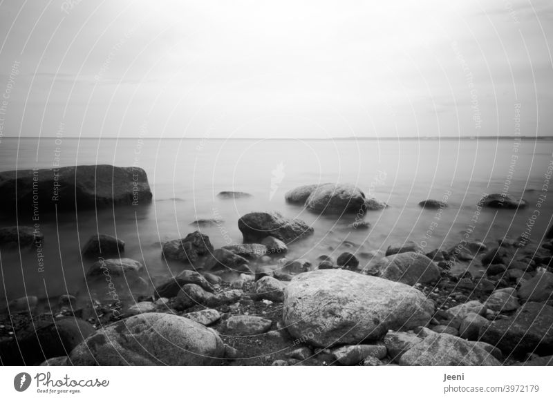 Stones in the sea | gentle rushing of the Baltic Sea by long time exposure Ocean Baltic coast stones Stony Water steep coast Beach Pebble beach Fog