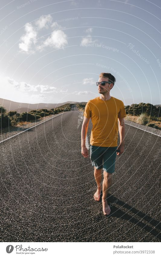 #AS# Asphalt boy Street get off Summer Summer vacation Sky Hot Sunglasses Barefoot Meditative differently Vacation & Travel Freedom Relaxation Nature Adventure