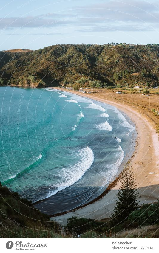 #AS# Perfect Beach Beach and sea Waves with reflections Green Ocean Blue whitewash Camping bank coast Sky Landscape travel Summer on one's own untreated Wild
