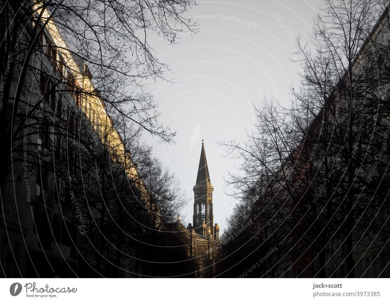 Church in the middle of Mitte Zion Church Stick out Illusion optical illusion Tourist Attraction Winter Target Architecture Dark Silhouette Vanishing point