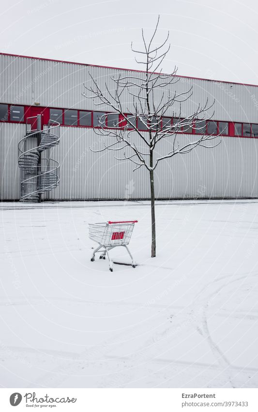 Red-White Snow Ice Shopping Trolley Shopping malls Tracks Cold Tree Deserted Frost Winter Facade Stairs Winding staircase Window Building Consumption