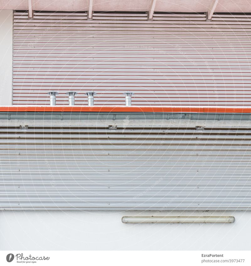 Red Line Facade Metal lines Stripe Gray White Ventilation Lamp Design Style Graph Graphic background Abstract Wall (building) Wall (barrier)