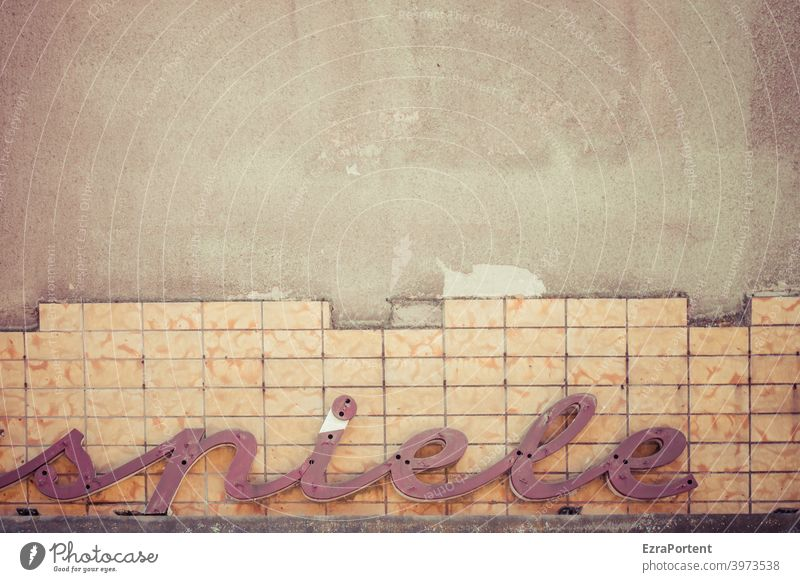 games Playing Word Letters (alphabet) Wall (building) Wall (barrier) Facade Characters Typography Sign Old tiles broken Broken Signs and labeling