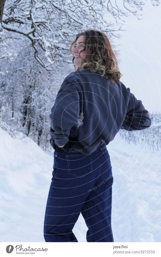 Young woman, snow in the background. one person young adult Girl Youth (Young adults) Feminine portrait pretty Fresh naturally Authentic Attractive Nature Snow