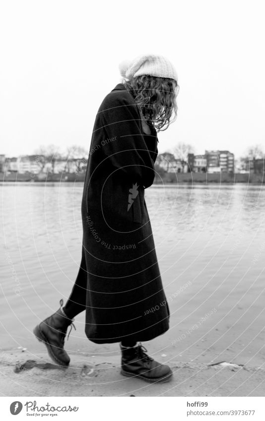 the woman is walking thoughtfully along the river Meditative portrait long hair melancholy Youth (Young adults) portraite 1 Woman Feminine naturally
