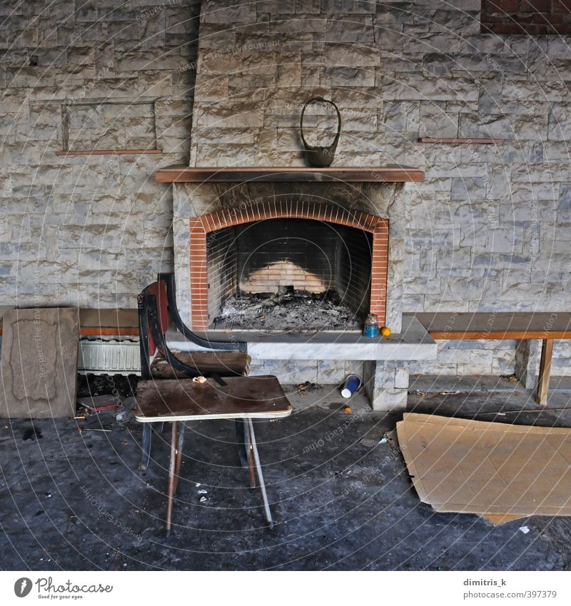 chair table abandoned house fireplace House (Residential Structure) Chair Table Fireside Living room Ruin Old Poverty Dirty Retro Loneliness charred interior