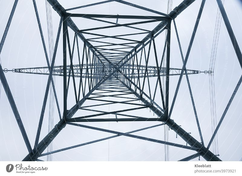View from below upwards in a power pole Industry Electricity pylon Transmission lines Sky Energy industry Cable High voltage power line Save energy Technology