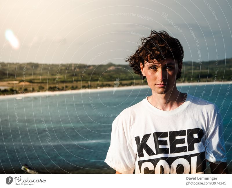 Handsome Male Model infront of the ocean, Keep Cool male Man Portrait photograph portrait keep cool young Young man Smiling Vacation & Travel vacation