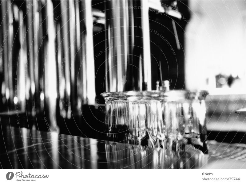 thirst Bar Gastronomy Counter Glass Spigot Chrome Club Black & white photo Foyer dispensing system