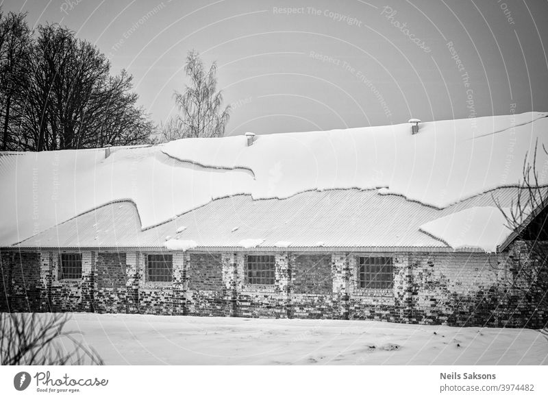 amazing shapes of snow on old farmhouse`s new roof Agriculture background beautiful calm cold cottage countryside cover field forest frozen garden harvest ice