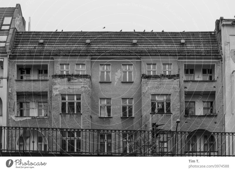 Old building Schönhauser Allee Prenzlauer Berg Berlin b/w Capital city Deserted Old town Downtown Exterior shot Town House (Residential Structure) Day