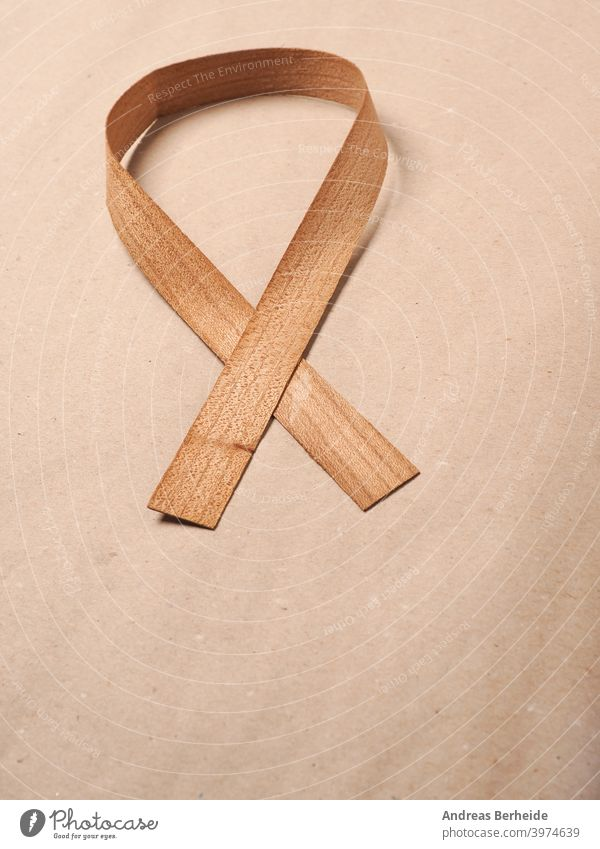 Wooden edge veneer curl on a natural paper,symbol for Liver Cancer awareness, World Cancer Day ribbon brown wood wooden shaped joinery carpentry woodworker