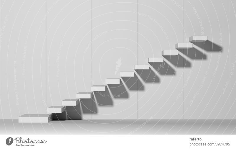 Ascending stairs abstract white 3d illustration staircase wall background success ladder business empty floor concept construction architecture achievement