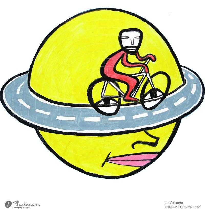 Endless thought Head Belt highway Bicycle brood illustration