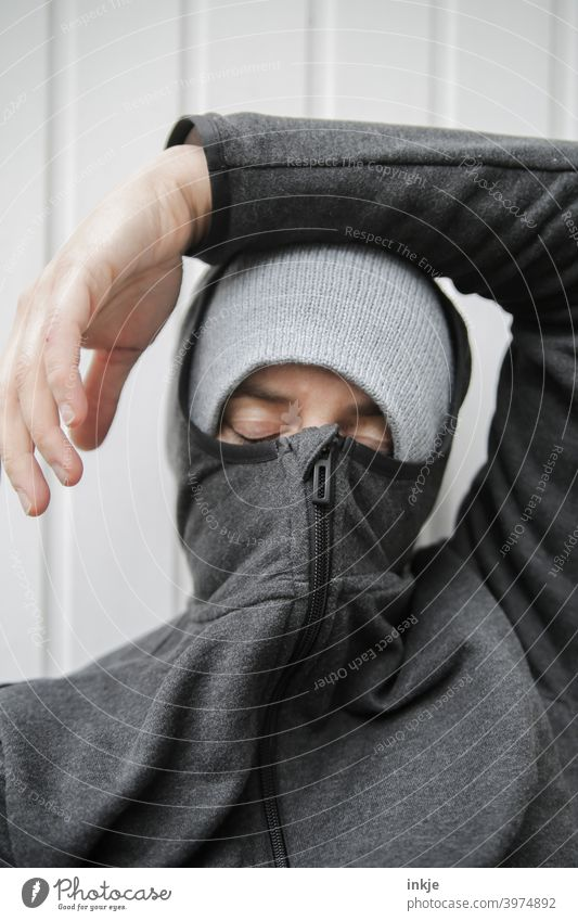 too long a break Colour photo Close-up Exterior shot portrait of a woman Anonymous Masked Authentic tired Boredom lockdown coronavirus Winter Cold Freeze