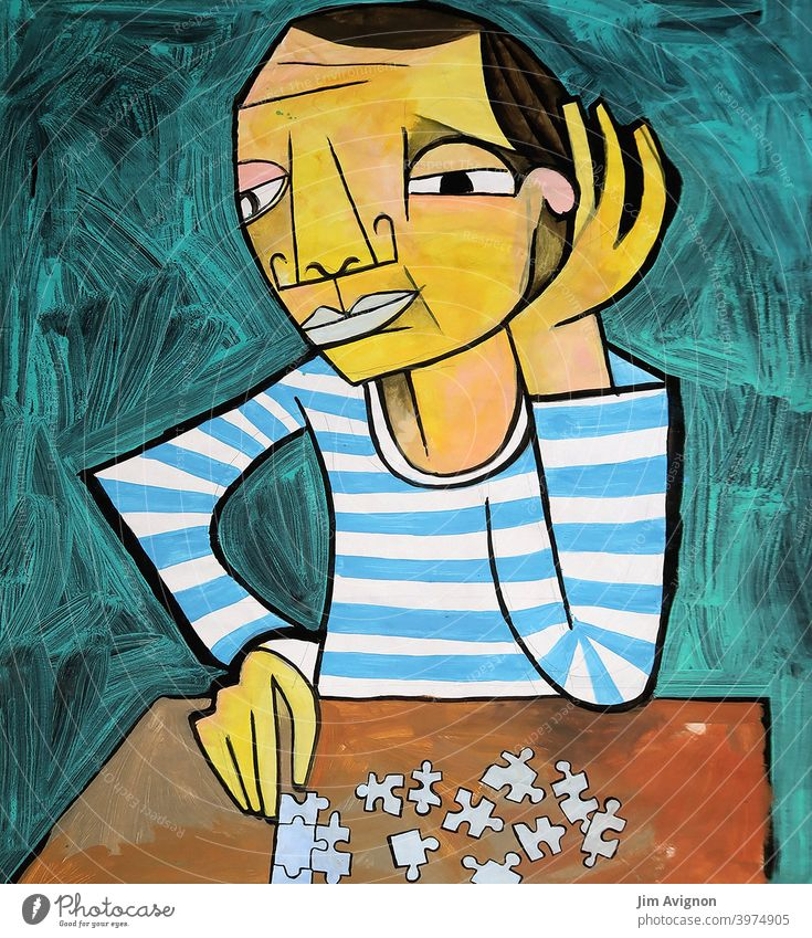The puzzle player Puzzle Playing Man Table patience combination Art illustration Picasso