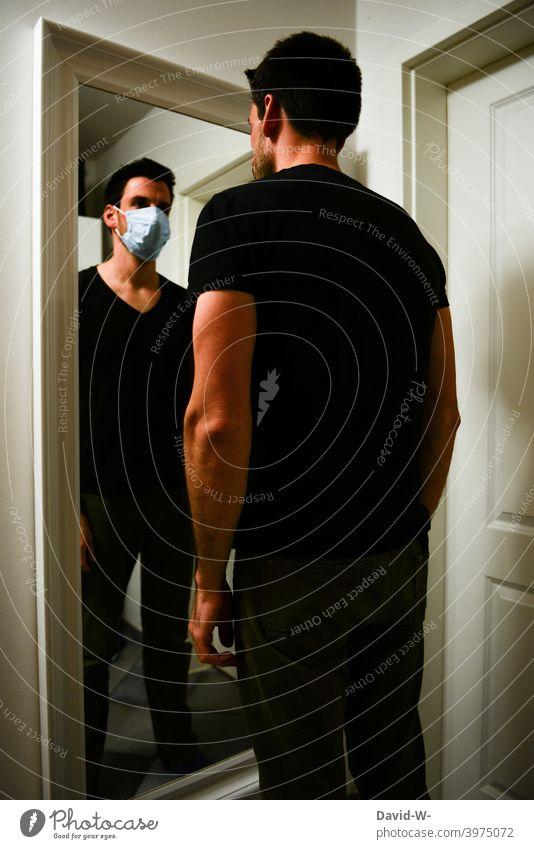Corona - Psyche and thoughts psyche coronavirus mental health pandemic Mask Meditative habit Mask obligation Man