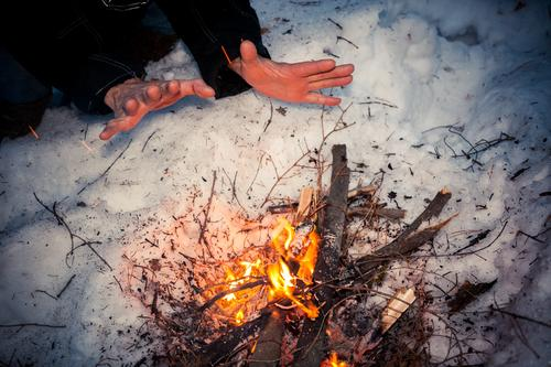 Frozen male hands are warming over bonfire at winter night. firewood white snow background blaze bright burn campfire christmas close-up dusk evening fireplace