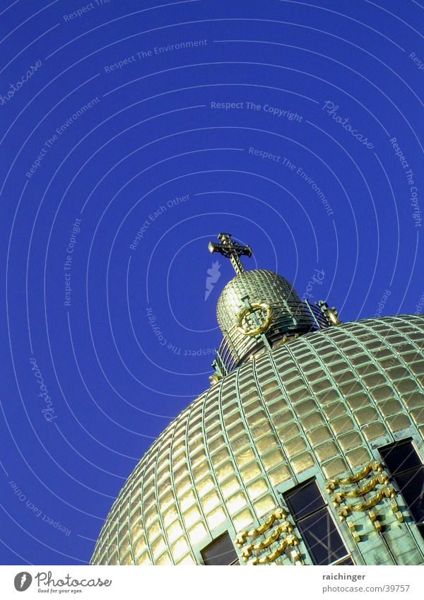 Sky Blue Religion and faith Architecture Gold Back Vienna Domed roof House of worship Art nouveau Kirche am Steinhof