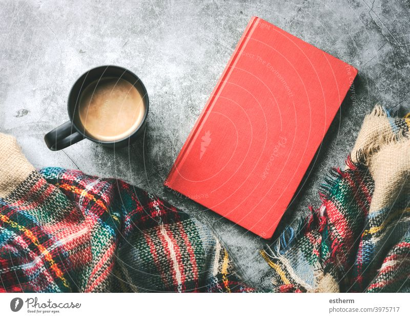scarf with cup of coffee and book leisure calm comfort concept taste freshness decaf caffeine beverage break banner mood house aroma read knit holiday