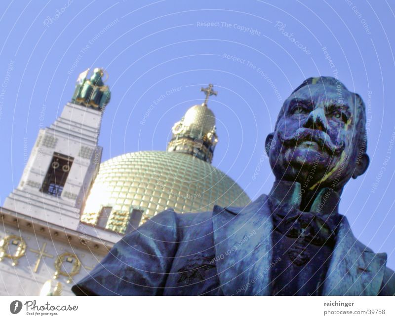 Man Sky Blue Gold Statue Historic Vienna Domed roof Tails Kirche am Steinhof