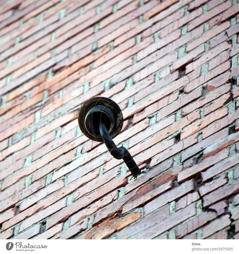 Contemporary history | Refurbishment case with ceramic insulator Pottery Wall (barrier) Metal Iron Brick stream Crack & Rip & Tear Checkmark Version Diagonal