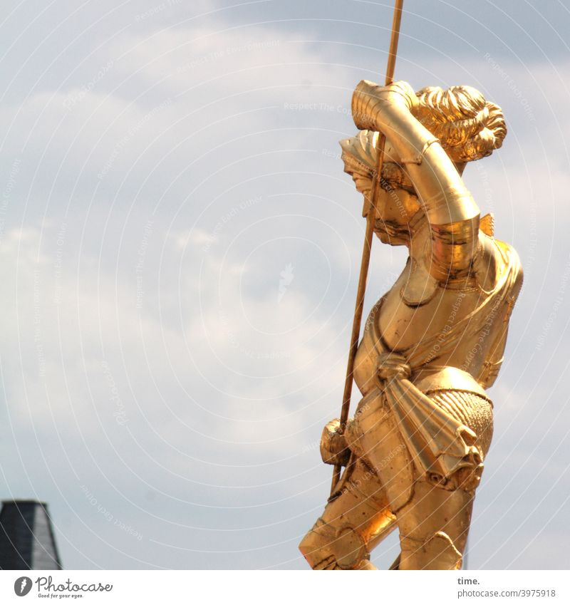 golden boy Metal Surface Iron Steel Rust Swing flexed gold-plated Lance Sky Clouds sunny Man garments Landmark shine gold varnish Figure