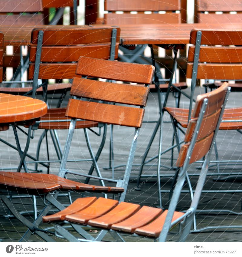 Waiting for customers (1) | corona thoughts Chair Table chairs Gastronomy Beer garden Empty Metal Wood Lonely at the same time in common free time Break