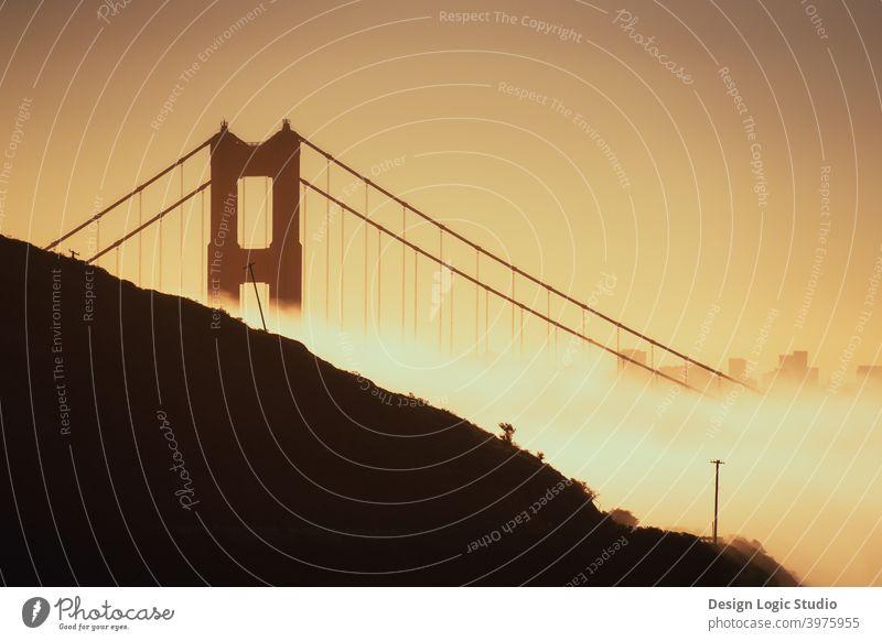 Golden Gate sunrise Golden Gate Bridge golden hour San Francisco California urban Architecture San Francisco bay Landmark Vacation & Travel Foggy landscape