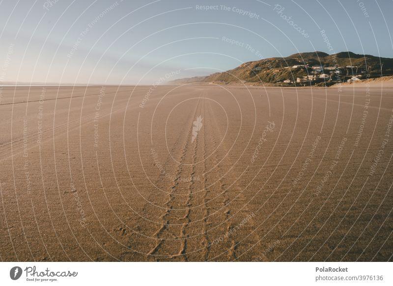 #AS# On the trail Car tracks Tracks Tracking Beach gout Sand Sandstone Sandy beach Exterior shot Deserted Ocean Nature Day coast Summer vacation Colour photo